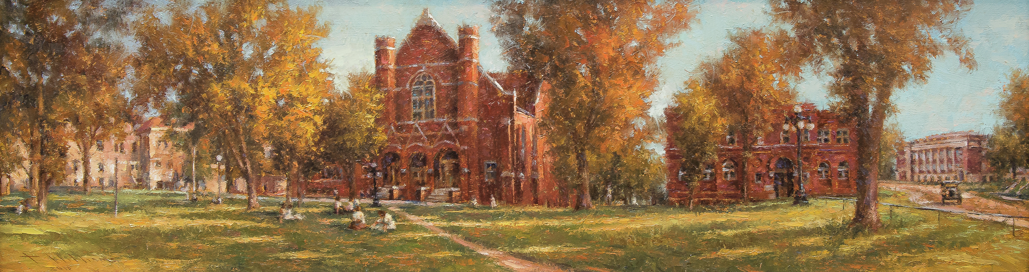 painting the legacy of nebraska shows the Peru State Campus set in the fall
